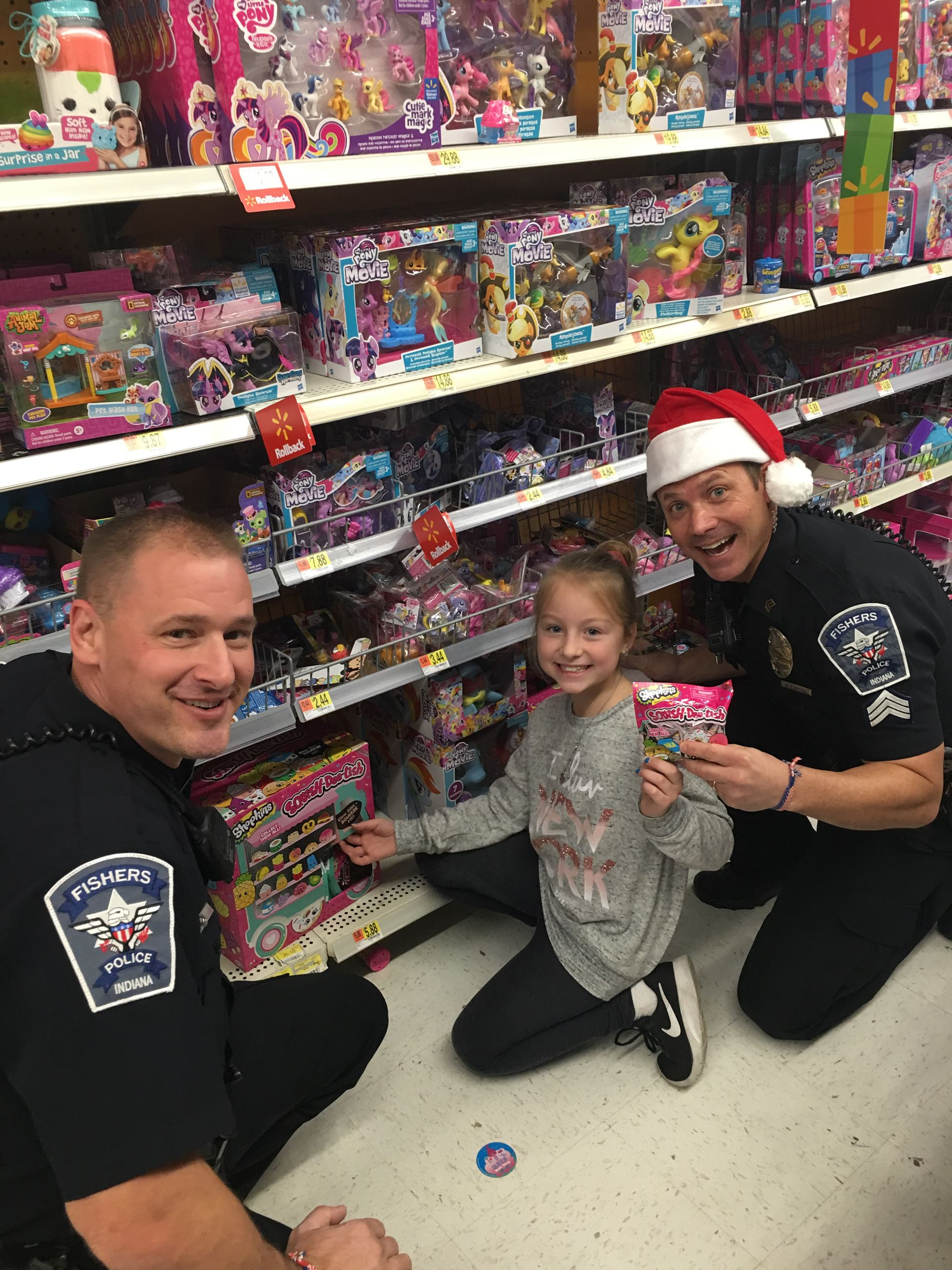 police officer shopping with children
